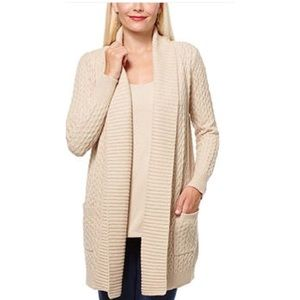 New! Leo & Nicole Long Cabled Beige Open Cardigan